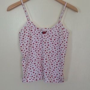 Kristina red and white heart tank top